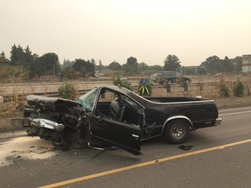 Wrecked El Camino Photo: Linn County Sheriff