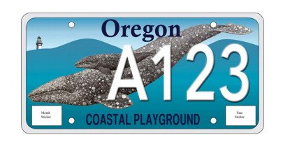 Proposed Oregon Coast and Gray Whale License Plate