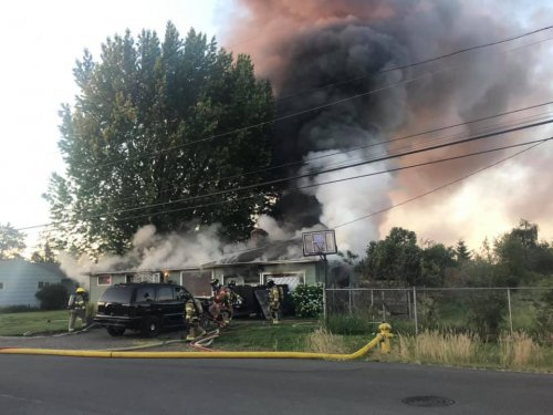 House fire in the 4300 block of Munkers St SE, Salem : Photo Courtesy of Marion County Fire