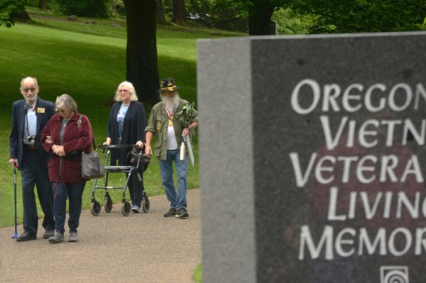 Veterans, family members, friends and others gathered at the Oregon Vietnam Veterans Memorial