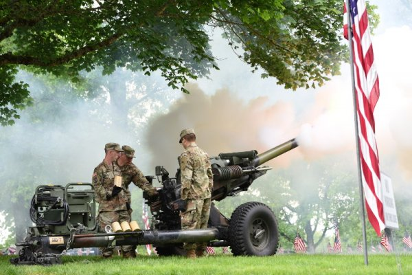 A Howitzer Salute by Alpha Battery 2-218th Field Artillery, Oregon Army National Guard during a Memorial Day Ceremony at the Willamette National Cemetery, Portland, Oregon, May 27, 2019